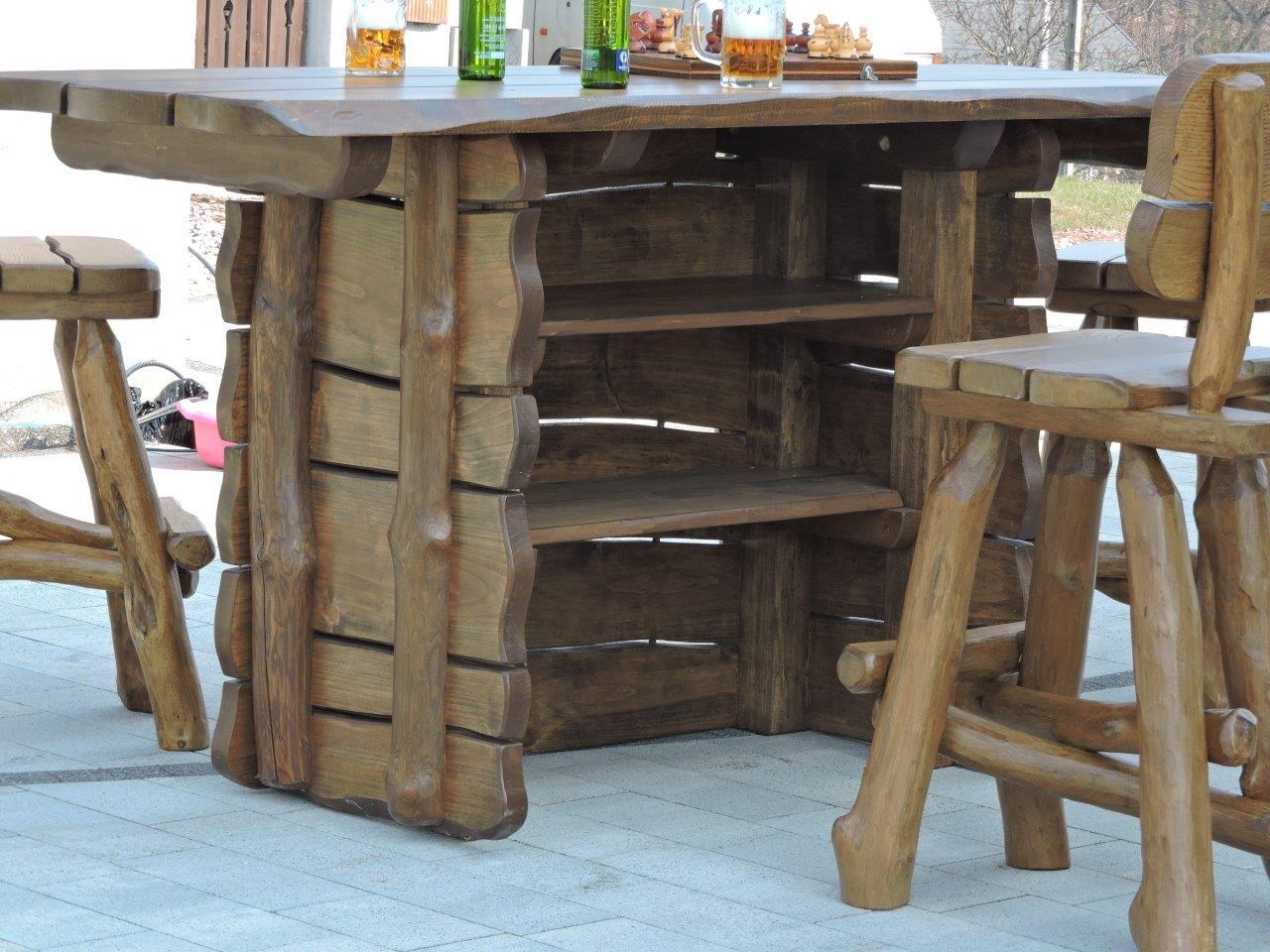 rustikale hausbar bartresen aus massivholz gartengarnitur. Black Bedroom Furniture Sets. Home Design Ideas